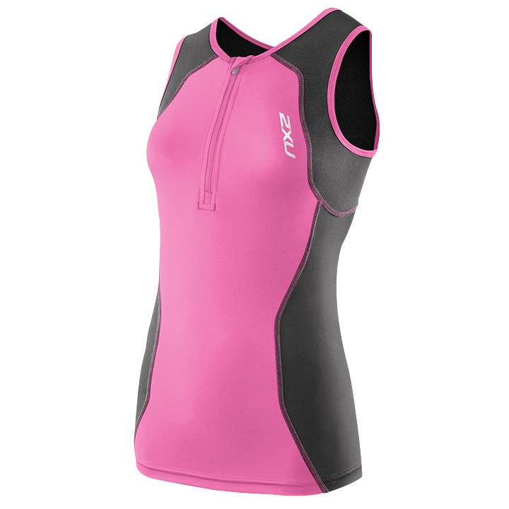 Top triathlon donna 2XU G.2 Active grigio-fucsia
