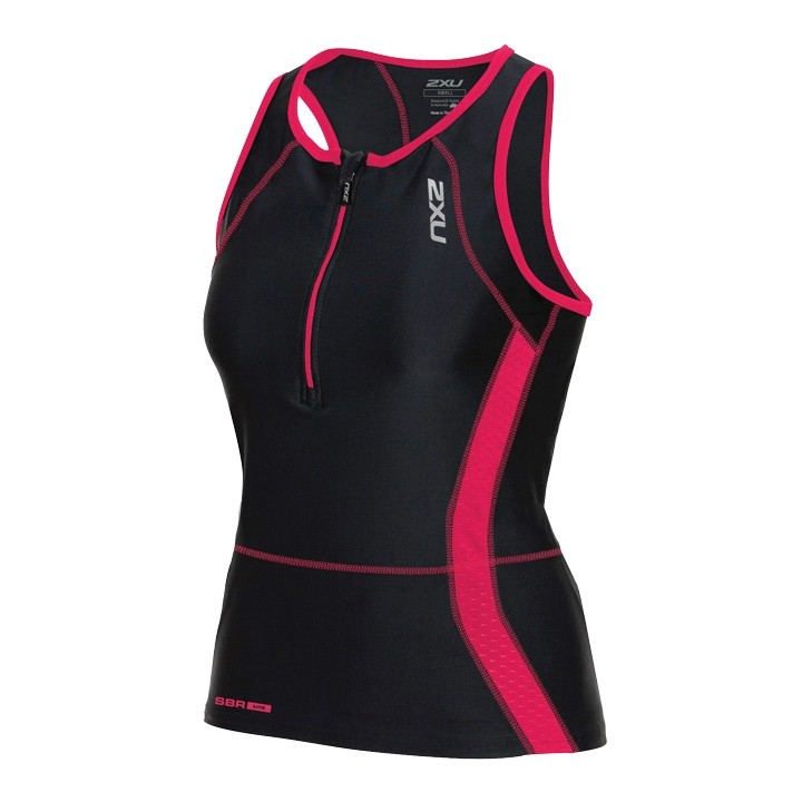 Top triathlon donna 2XU Perform nero-fucsia