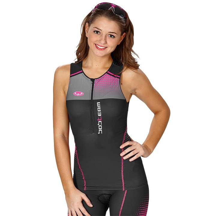 Top triathlon donna BOBTEAM nero-fucsia
